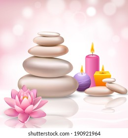 Realistic spa beauty health care decorative elements on light background vector illustration