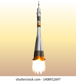 Realistic Space Ship Launching. Successfull Business Plans Realization Concept. 3D Vector Illustration