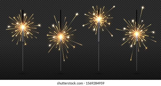 Realistic sparkler. Party and birthday firework lights, vector New Year and Christmas decorative elements on transparent background. Glow yellow sparklers candle for feast celebrate