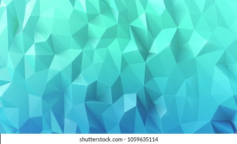Realistic sparkling colorful 3d low polygonal blue background.  Icy background in low poly style.Vector design.