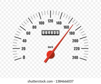 Realistic speedometer isolated on transparent background. Sport car odometer with motor miles measuring scale. Racing speed counter. Engine power concept template. Vector illustration