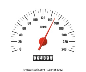 Realistic speedometer isolated on white background. Sport car odometer with motor miles measuring scale. Racing speed counter. Engine power concept template. Vector illustration