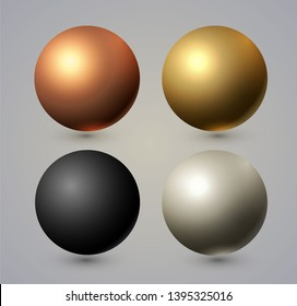 Realistic Spheres Set with Reflection. Gold, Copper, Silver, Black.