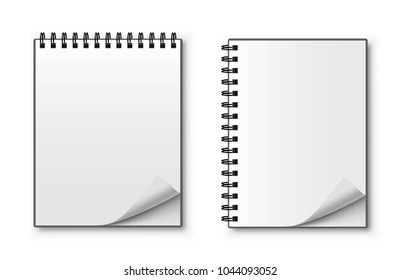 Realistic spiral notebook. Blank notepad. Vector illustration