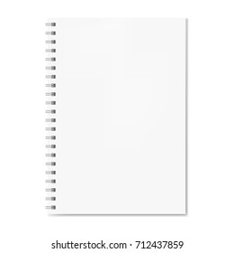 Realistic spiral notebook mockup, copybook blank cover. Clear notebook front page or clean page with shadow. Vector closed pad with binder template