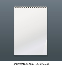 realistic spiral notebook with a white top and blank page. portrait orientation