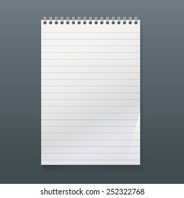 realistic spiral notebook with a white top and lined sheet. portrait orientation