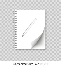 Realistic spiral notepad blank with cornered sheet of paper and pen mock up. Vector