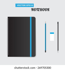 Realistic spiral notepad notebook. Vector