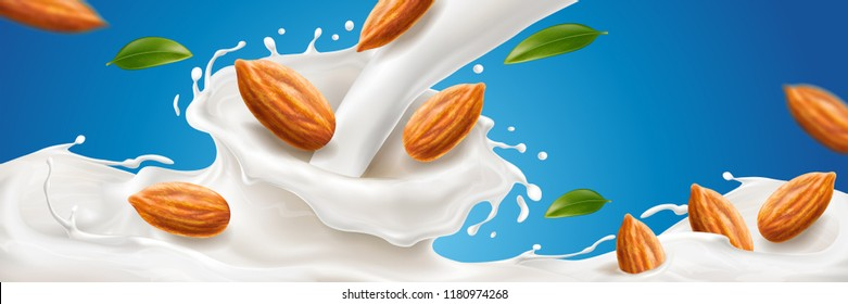 Realistic splash of almond milk with nuts for natural drink advertising, organic vegan beverage with 3d spatters for package, milkshake commercial. Dessert and meal, dairy branding theme