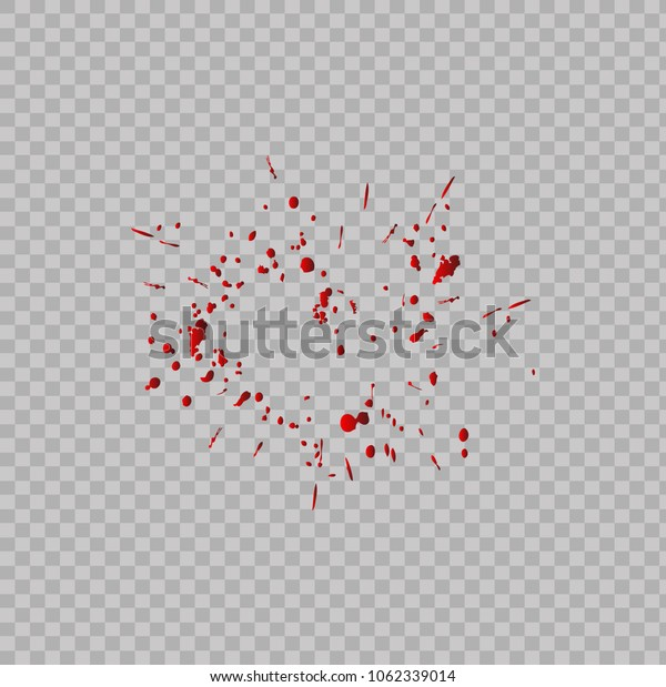 Realistic of splattered red color isolated on transparent background.