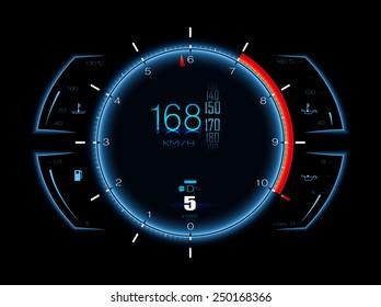 Realistic sport car vector speedometer. Dashboard lights. Speed concept. Speedometer vector illustration. Car HUD. Speedometer realistic HUD. Vector speedometer. Sports car speedometer. Speed concept