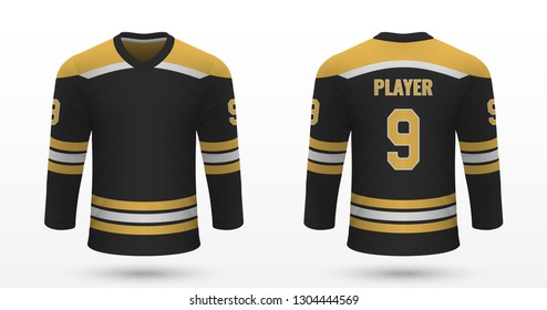 Realistic sport shirt, Boston Bruins jersey template for ice hockey kit. Vector illustration