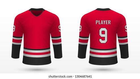 Realistic sport shirt, Carolina Hurricanes jersey template for ice hockey kit. Vector illustration