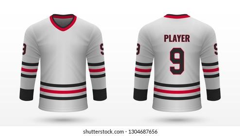 Realistic sport shirt, Chicago Blackhawks jersey template for ice hockey kit. Vector illustration
