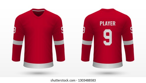 Realistic sport shirt, Detroit Red Wings jersey template for ice hockey kit. Vector illustration