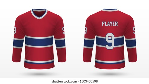 Realistic sport shirt, Montreal Canadiens jersey template for ice hockey kit. Vector illustration