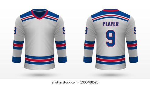 Realistic sport shirt, New York Rangers jersey template for ice hockey kit. Vector illustration