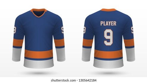 Realistic sport shirt, New York Islanders jersey template for ice hockey kit. Vector illustration
