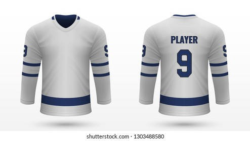 Realistic sport shirt, Toronto Maple Leafs jersey template for ice hockey kit. Vector illustration