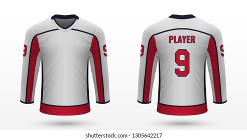 Realistic sport shirt, Washington Capitals jersey template for ice hockey kit. Vector illustration