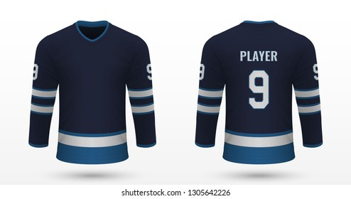 Realistic sport shirt, Winnipeg Jets jersey template for ice hockey kit. Vector illustration