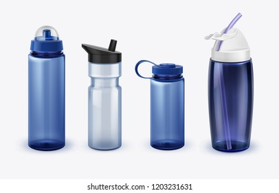 Realistic sport water bottles set of various shapes and size. Vector illustration isolated on white background