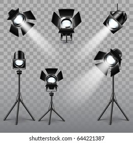Realistic spotlight set on transparent background vector