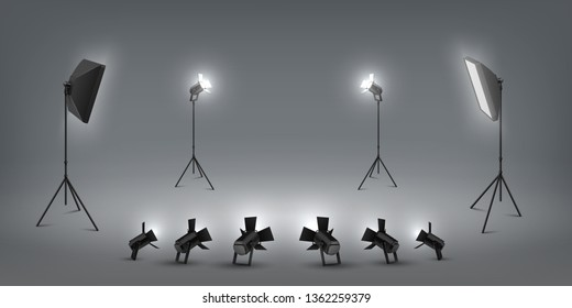 Realistic spotlight. Studio light effects, floodlights and softbox, photo studio and stage light. Vector set of concert vivid lamp light