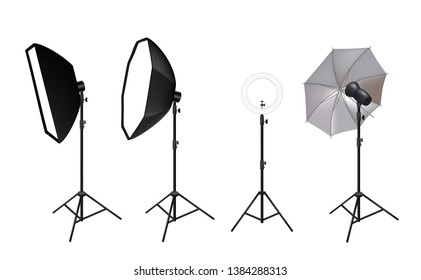 Realistic spotlights. Photo video accessories for studio softboxes spotlights vivid light shine glow effects vector pictures