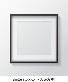 Realistic Square Black Blank Picture frame, hanging on a White Wall from the Front.  Design Template for Mock Up. Vector illustration