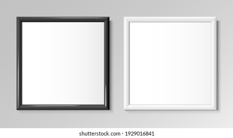 Realistic square black and white frames for paintings or photographs. Vector illustration.