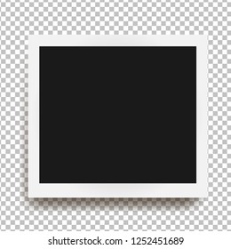 Realistic square frame with shadow isolated on transparent background. Vector illustration