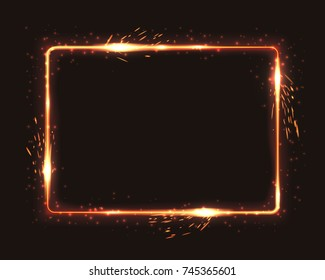 Realistic square light fire flame frame with firework sparkles, vector template illustration on black background.