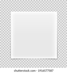 Realistic square paper sheet with shadow, isolated on transparent background.