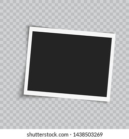 Realistic square photo frame on transparent background. Vector.