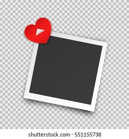 Realistic square photo frame with shadow pin on red heart sticky tape. Old empty black snapshot isolated on transparent background. Vector picture for Happy Valentines Day or love design.