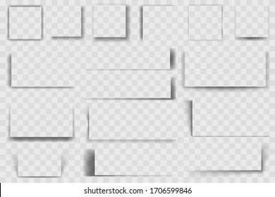 Realistic square shadows. Square drop shadow, soft edges transparent shades, dark quadrate shadows vector illustration set. Square shade effect, rectangle realistic transparent collection