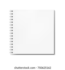 Realistic square spiral notebook mockup, sketchbook blank cover. Clear notepad front page or clean page with shadow