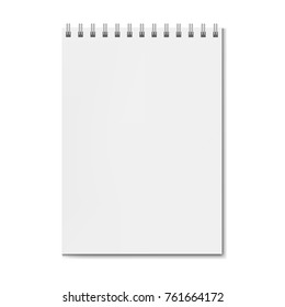 Realistic square spiral notebook mockup, sketchbook on spiral binder blank cover. Clear notepad front page or clean page with shadow template