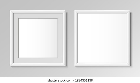 Realistic square white frame for paintings or photographs. Vector illustration.