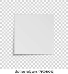 Realistic square white sheet of paper isolated on a transparent background. Template for your project. Vector illustration