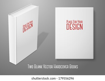 Realistic standing white blank hardcover book and book with front view. Isolated on background for design and branding. Vector