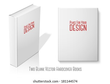 Realistic standing white blank hardcover book and book with front view. Isolated on white background with reflection for design and branding. Vector