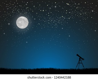 Realistic Starry Sky with Blue Glow. Shining Stars Dark Sky. Background, Wallpaper. Night Sky, Dark Blue Outer Space with Bright Stars. Shining Stars in Space. Telescope Watch on Stars.