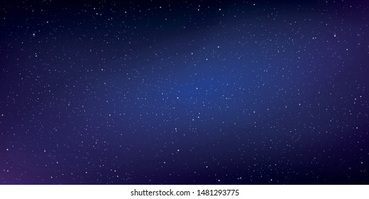 Realistic starry sky with a blue and purple glow, Starry nights with bright shiny stars, Shining stars in the dark sky. Vector illustration.