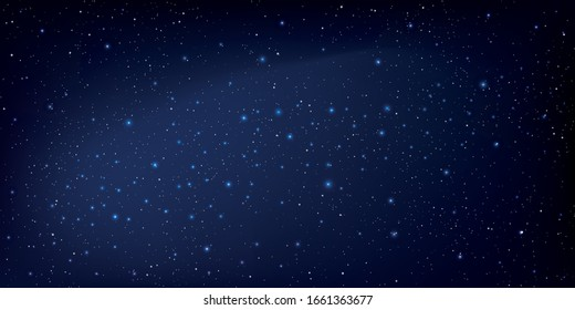 Realistic starry sky glow, Starry nights with bright shiny stars, Shining stars in the dark sky, Milky way galaxy. Vector illustration.