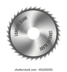Realistic steel disc for circular saws, tool design elements, isolated on white background, vector illustration.