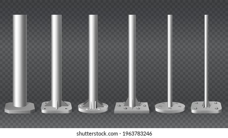 Realistic steel pillars. Metal cylinder pole pipes, 3d steel columns vector illustration mockup set. Different diameters metal pole pillars. Aluminium architectural metallic, metal silver polished