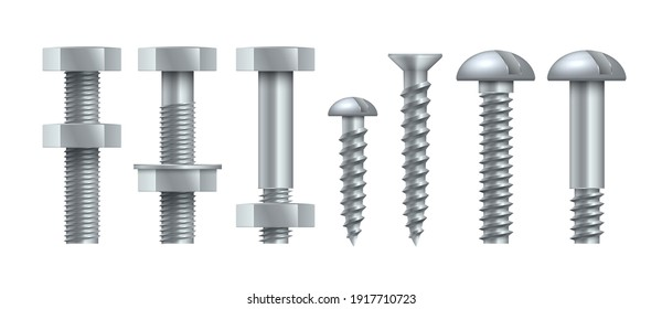 Realistic steel self-tapping. Metal bolts with tightened nuts. Stainless threaded nails with polygonal and round heads. Silver colored hardware assortment. Vector isolated set of building equipment